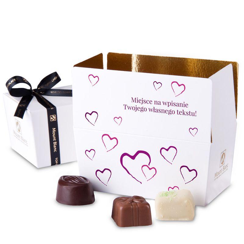 Ballotin Purple no.1 czekoladki dla zakochanych z własnymi życzeniami