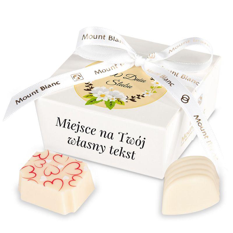 Upominek dla Młodej Pary Mini Ballotin White no.2 z Twoimi życzeniami