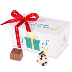 Czekoladki Ballotin White no.1 z życzeniami. Personalizowane czekoladki na urodziny