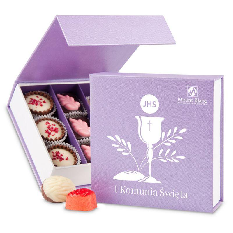 Bombonierka komunia Finesse Lavender no.2 słodkości na komunię dla dziewczynki