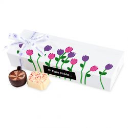 Czekoladki z okazji Dnia Kobiet Mini Ballotin White no.5 z tulipanami
