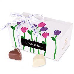 Czekoladki na Dzień Kobiet Ballotin White no.1 z tulipanami