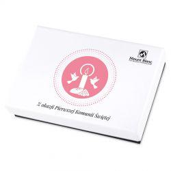 Czekoladki Premium White Mini z okazji Pierwszej Komunii Świętej dla dziewczynki