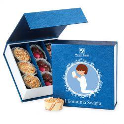 Bombonierka na komunie Finesse Blue-White no.2. prezent komunijny dla chłopca