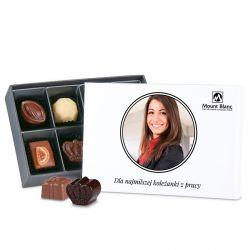 Bombonierka Premium White Mini prezent dla koleżanki z pracy ze zdjęciem, słodycze dla firm