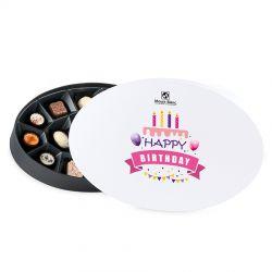 Vintage White no.2 czekoladki urodzinowe z napisem Happy Birthday