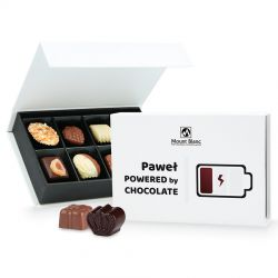 Bombonierka Chocolate Box Mini Powered by Chocolate z imieniem Twojego chłopaka