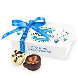 Prezent z okazji urodzin Mini Ballotin White no.3 z Twoimi życzeniami