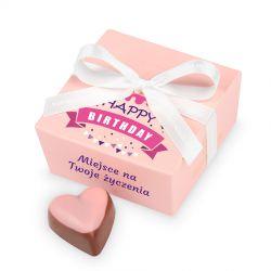 Czekoladki urodzinowe Mini Ballotin Pink no.2 z Twoimi życzeniami