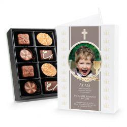 Czekoladowe zaproszenie na komunię Chocolate Box White Mini z Twoim zdjęciem i tekstem
