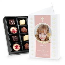 Czekoladki Chocolate Box White Mini, zaproszenie na komunię z Twoim zdjęciem i tekstem