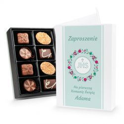 Bombonierka Chocolate Box White Mini, zaproszenie na komunię z Twoim tekstem