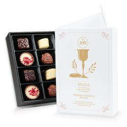 Czekoladki Chocolate Box White Mini, zaproszenie na Pierwszą Komunię z Twoim tekstem