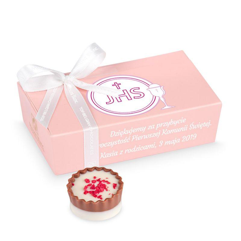 Mini Ballotin Pink no.3, słodkie podziękowania dla gości komunijnych