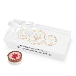 Czekoladki na komunię Mini Ballotin White no.4 z Twoimi życzeniami