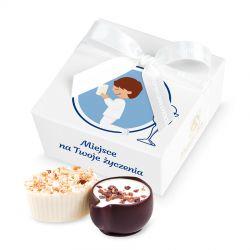 Czekoladki na Pierwszą Komunię Świętą dla chłopca Mini Ballotin White no.2 z Twoimi życzeniami