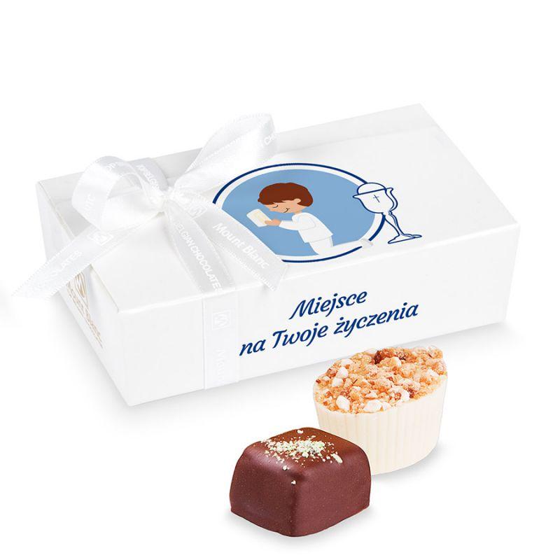 Czekoladki z okazji Pierwszej Komunii Świętej z życzeniami dla chłopca Mini Ballotin White no.3