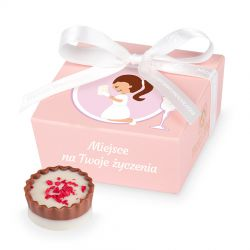 Czekoladki na Pierwszą Komunię Świętą dla dziewczynki Mini Ballotin PInk no.2 z Twoimi życzeniami