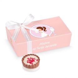 Czekoladki z okazji Pierwszej Komunii Świętej z życzeniami dla dziewczynki Mini Ballotin Pink no.3