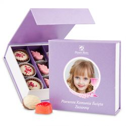 Czekoladki na komunię dla dziewczynki Finesse Lavender no.2 z Twoim zdjęciem i tekstem