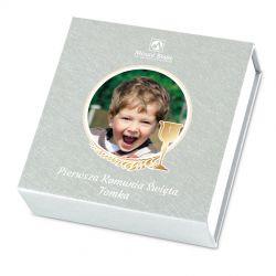 Czekoladki komunijne dla chłopca Finesse Silver no.2 z Twoim zdjęciem i tekstem