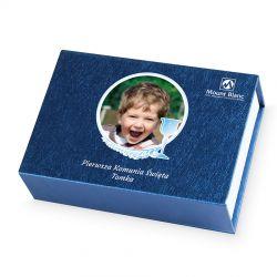 Czekoladowy prezent na komunię dla chłopca Finesse Blue z Twoim zdjęciem i tekstem
