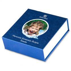 Czekoladki komunijne dla chłopca Finesse Blue no.2 z Twoim zdjęciem i tekstem