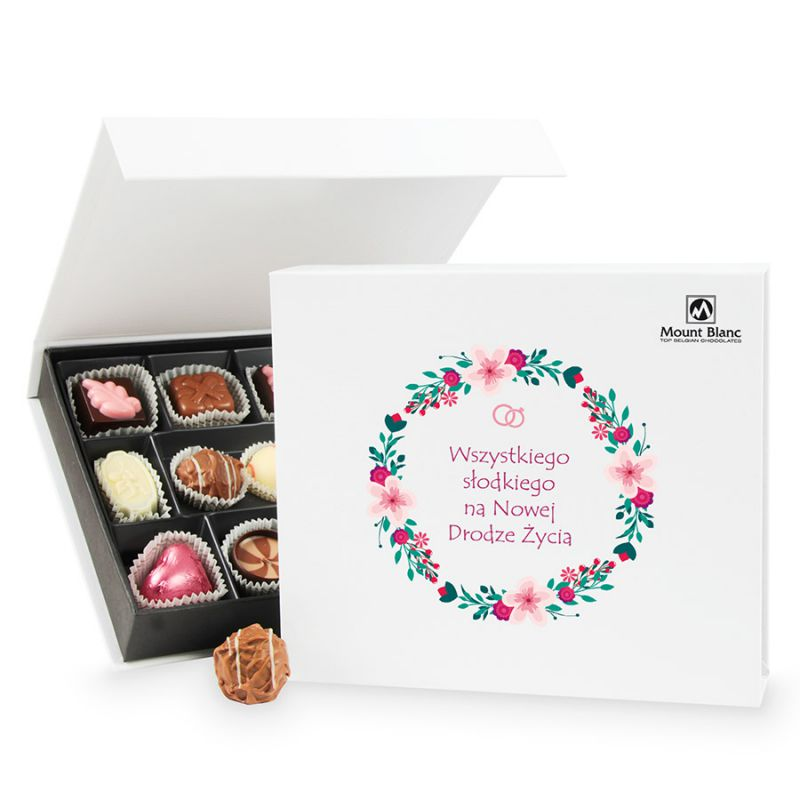 Prezent dla Młodej Pary Chocolate Box White Medium Wszystkiego Słodkiego