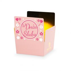 Czekoladki na ślub Mini Ballotin Pink no.2