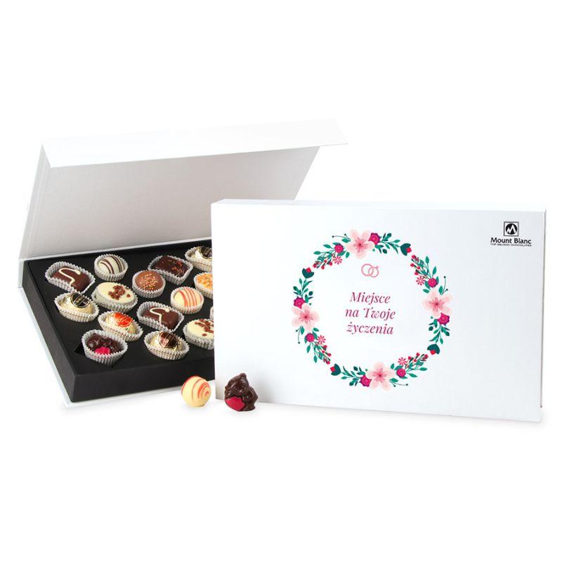 Bombonierka dla Młodej Pary Chocolate Box White z Twoimi życzeniami