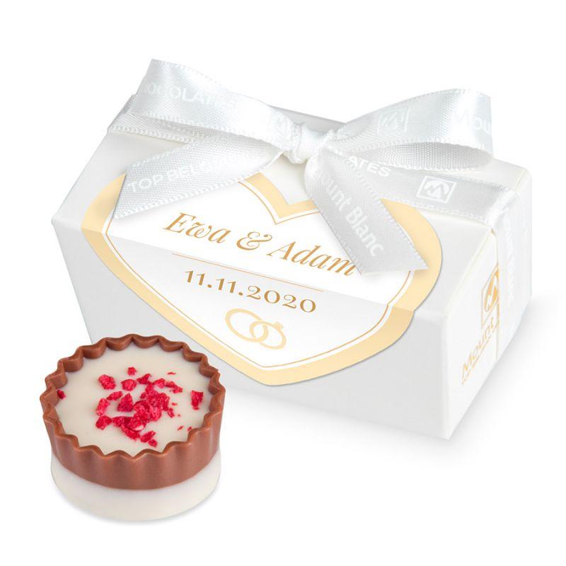 Słodki upominek dla gości weselnych Mini Ballotin White no.1 z Twoim imieniem