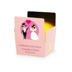 Czekoladki podziękowania dla gości weselnych Mini Ballotin Pink no.2 z Twoim tekstem