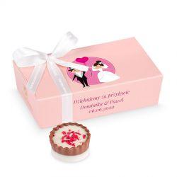 Podziękowania dla gości Mini Ballotin Pink no.3 z Twoim tekstem