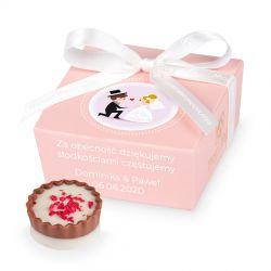 Czekoladki na podziękowania Mini Ballotin Pink no.2 z Twoim tekstem
