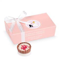 Podziękowania dla gości weselnych, czekoladki Mini Ballotin Pink no.3 z Twoim tekstem