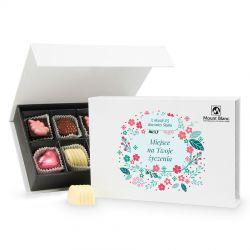 Prezent na rocznicę ślubu Chocolate Box White Mini z Twoimi życzeniami