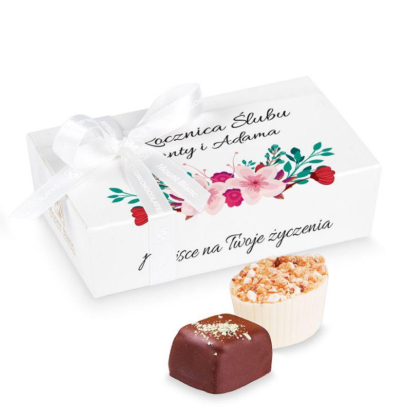 Prezent z okazji rocznicy ślubu Mini Ballotin White no.3 z Twoimi życzeniami
