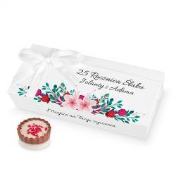 Czekoladki na rocznicę ślubu Mini Ballotin White no.4 z Twoimi życzeniami
