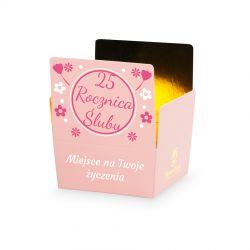 Czekoladki z okazji rocznicy ślubu Mini Ballotin Pink no.2 z Twoimi życzeniami