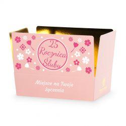Czekoladki na rocznicę ślubu Mini Ballotin Pink no.3 z Twoimi życzeniami