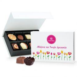 Prezent na imieniny Chocolate Box White Mini z Twoimi życzeniami