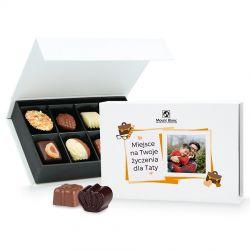 Bombonierka Chocolate Box White Mini z Twoim zdjęciem i życzeniami dla taty