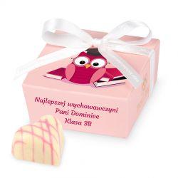 Czekoladki dla nauczyciela Mini Ballotin Pink no.2 z Twoimi życzeniami