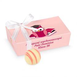 Czekoladki dla wychowawczyni Mini Ballotin Pink no.3 z Twoimi życzeniami