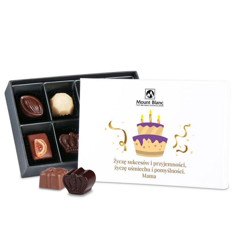 Czekoladki na urodziny Premium White Mini z Twoimi życzeniami