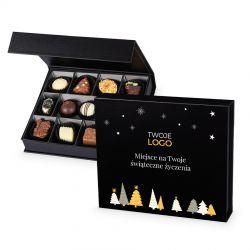 Pralinki na Boże Narodzenie Christmas Chocolate Box Black Medium z logo firmy i życzeniami