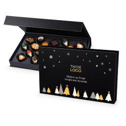 Praliny pod Choinkę Christmas Chocolate Box Black z logo Twojej firmy i życzeniami