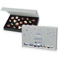 Czekoladki na święta Christmas Chocolate Box Silver z logo Twojej firmy i życzeniami