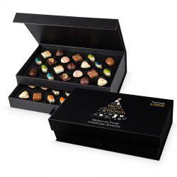 Słodki upominek na Gwiazdkę Chocolate Tower Black z logo Twojej firmy i życzeniami