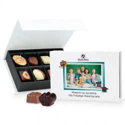 Bombonierka Chocolate Box White Mini z Twoim zdjęciem i życzeniami dla nauczyciela